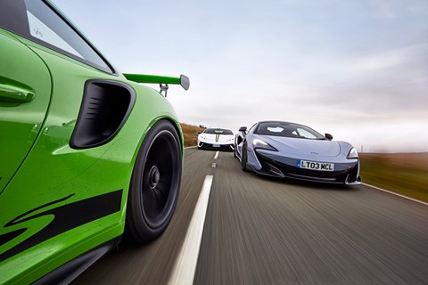 600LT vs GT3 RS vs Huracan Performante trio front tracking