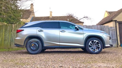 Lexus RX L on a space saver spare wheel: we've had a puncture