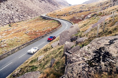 Jaguar i-Pace and XK120 chase each other across Snowdonia, Wales