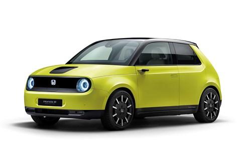 Honda e electric car in green