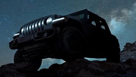 Black Jeep Wrangler electric silhouette