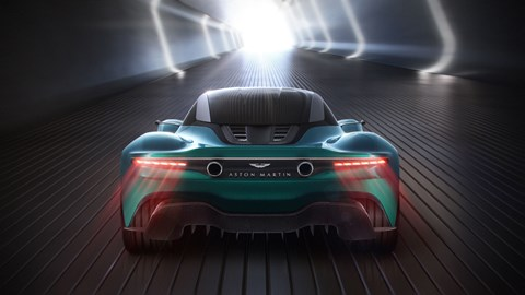 Aston Martin Vanquish Vision concept at the 2019 Geneva motor show - dead-on rear view