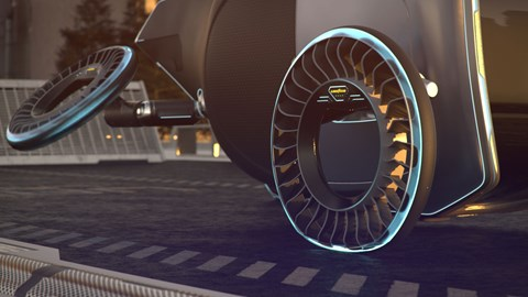 Goodyear Aero flying wheel concept car showing deflection in virtual reality