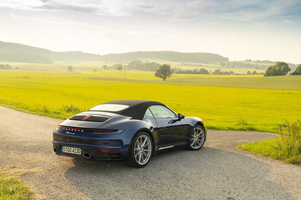 Roof up, the rump of the Porsche 911 Cabriolet is even higher