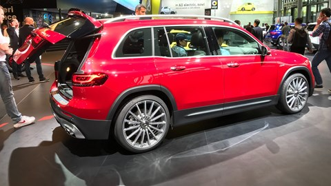 Mercedes GLB 35 AMG at the Frankfurt motor show 2019 - side view, red