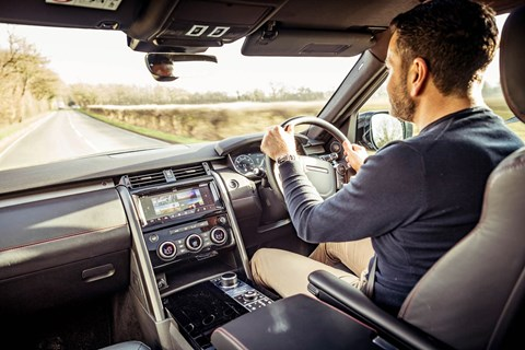Author Ben Oliver and the CAR magazine Land Rover Discovery: a roomy, comfy interior