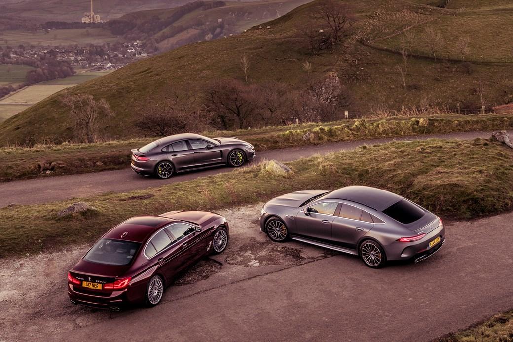Mercedes-AMG GT four-door vs Alpina B5 vs Porsche Panamera Turbo S E