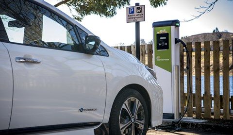 Long-range electric cars: EV charging point