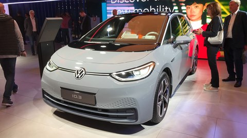 VW ID.3 at the Frankfurt motor show 2019 - front view, grey