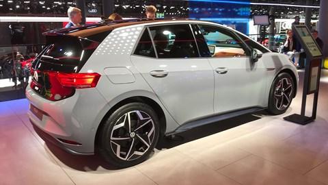 VW ID.3 at the Frankfurt motor show 2019 - rear view, grey