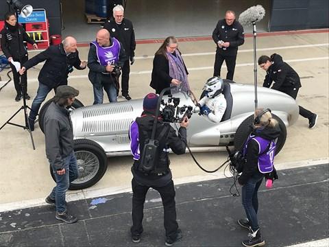 Mercedes 125 racing history film crew