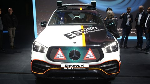 Mercedes ESF safety car at Frankfurt motor show 2019 - warning triangles in front grille