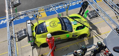 Aston Martin pit crew slave over the GTE Pro car at 2019 Le Mans 24hrs