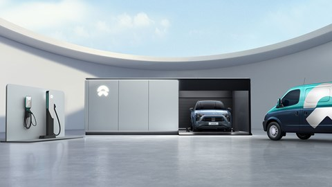 Nio has a suite of battery top-up options: on-street or home charging, battery swap or a come-to-you e-van