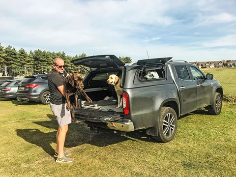 Steve Moody and his four-legged friends: dogs are at home in the Mercedes X-Class (but it's high to climb into)