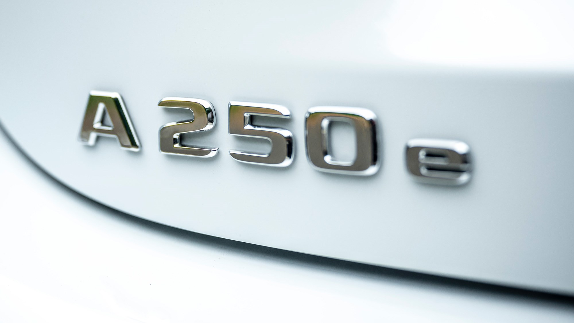Mercedes-Benz A250e plug-in hybrid review, 2020, badge