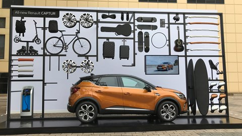Renault Captur mk2 at the Frankfurt motor show 2019 - side view, orange