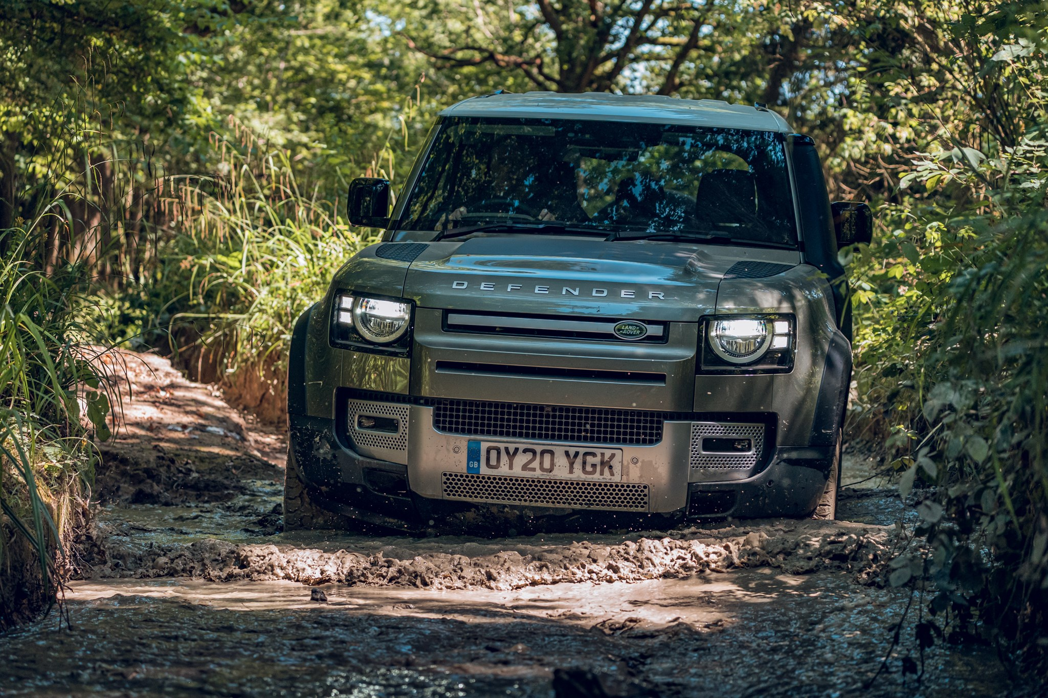 Land Rover Defender (2020) off-road view, driving