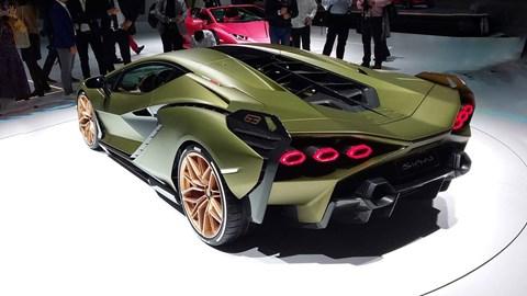 2019 Lamborghini Sian, rear three quarter, Frankfurt motor show