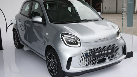 Smart EQ ForFour at Frankfurt motor show 2019 - front view, charging