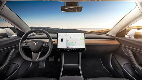 Tesla Model 3 interior: pared-back