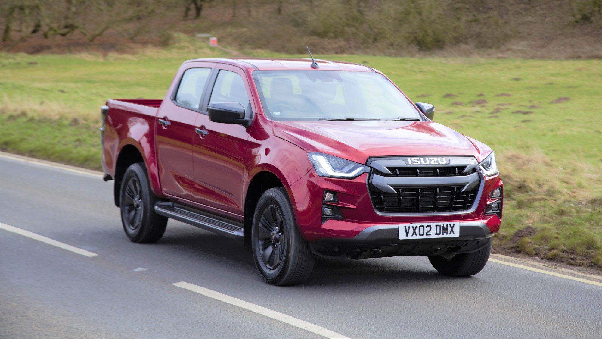 Isuzu D-Max review 2021, front view, driving, red