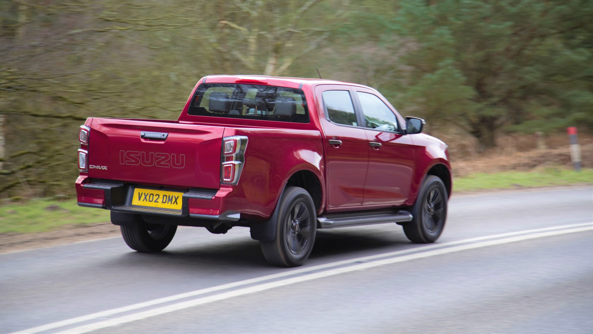 Isuzu D-Max review 2021, rear view, driving, red