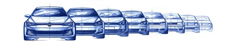 Volkswagen Golf: from new Mk8 (left) to original Mk1 (far right)