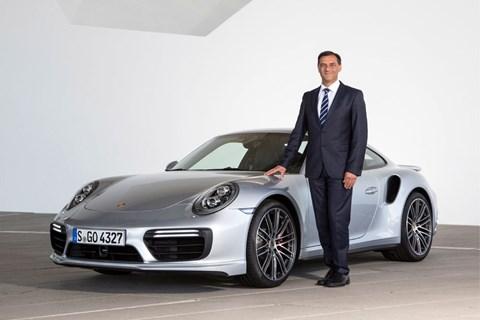 Porsche R&D chief Michael Steiner with a petrol-powered 911