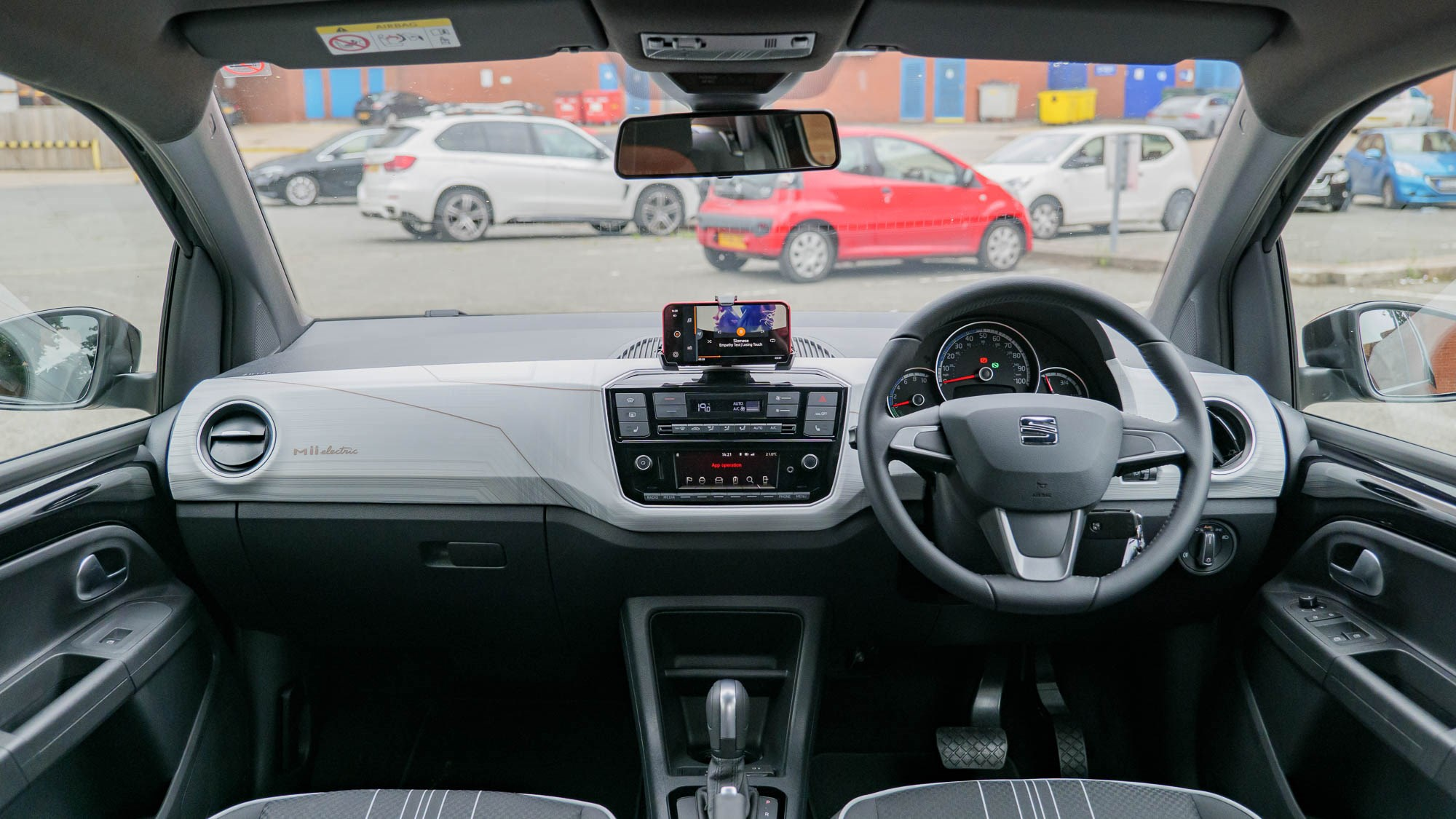 SEAT Mii Electric dashboard, RHD with phone in dock
