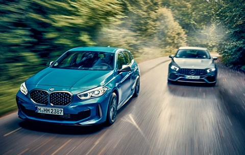 BMW M135i twin test against the new Mercedes-AMG A45 hot hatch