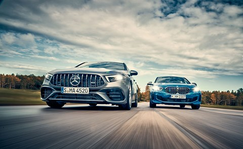 Mercedes-Benz's A45 fights the BMW M135i in CAR magazine's exclusive comparison test