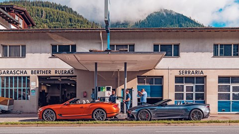 Feeding time: Aston Martin and Bentley refuel in the Alps