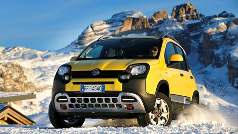 Fiat Panda 4x4 driving on snow