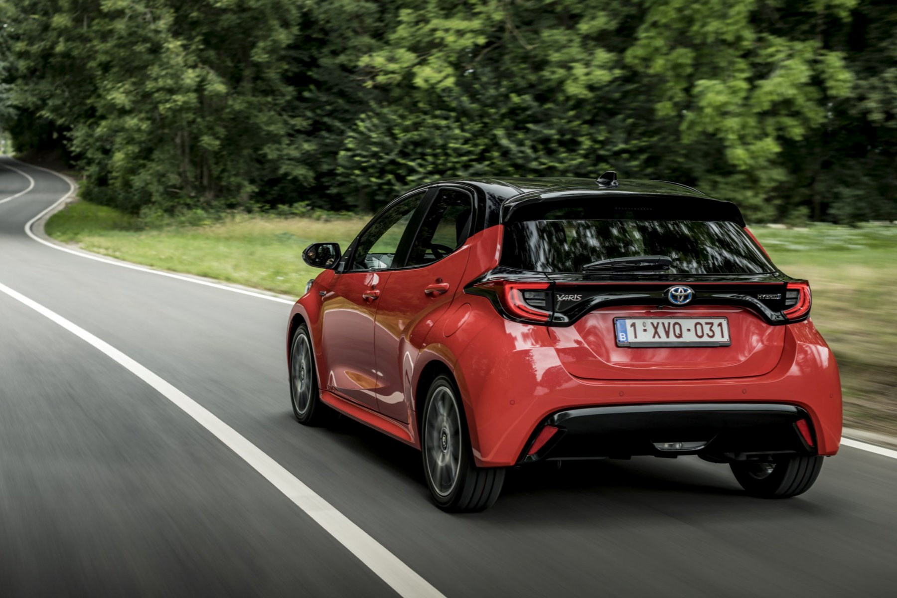 2020 Toyota Yaris driving rear