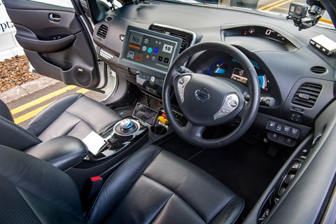 Nissan Leaf self-driving car interior