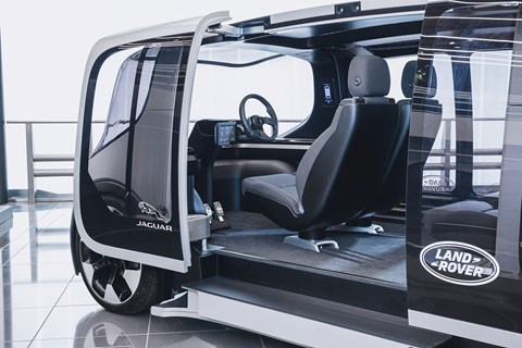 Jaguar Land Rover Project Vector interior: the driverless pod has a steering wheel!