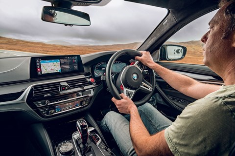Author Ben Barry driving the new 2020 BMW M5 Competition in Wales
