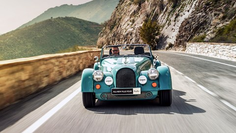 Turquoise 2020 Morgan Plus Four front elevation driving