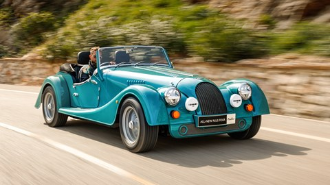 Turquoise 2020 Morgan Plus Four front three-quarter driving