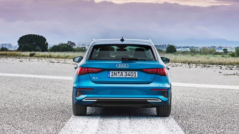 Rear end is notable for its lack of exhaust pipes: only the sporty S3 gets visible tailpipes