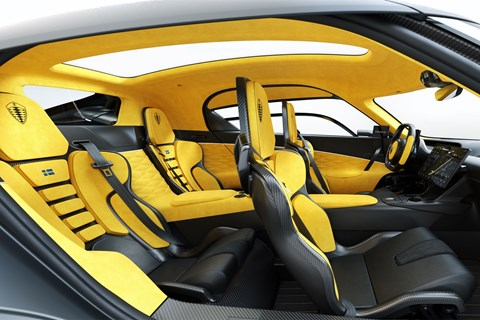 Koenigsegg Gemera, 2020, side view of four-seater cabin