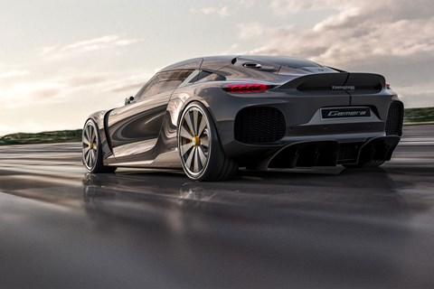 Koenigsegg Gemera, 2020, rear view, driving