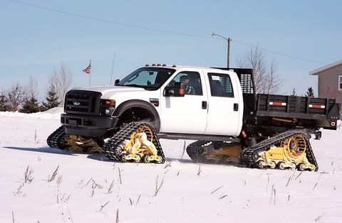 Snow? Pah! Mattracks Ford F-350 eats drifts for breakfast