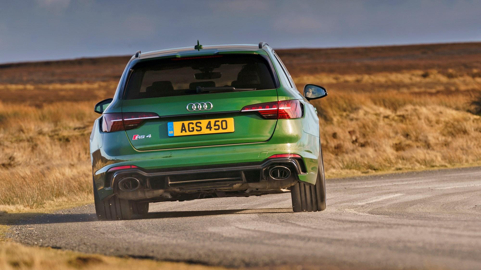 Green 2021 Audi RS4 Avant rear elevation driving