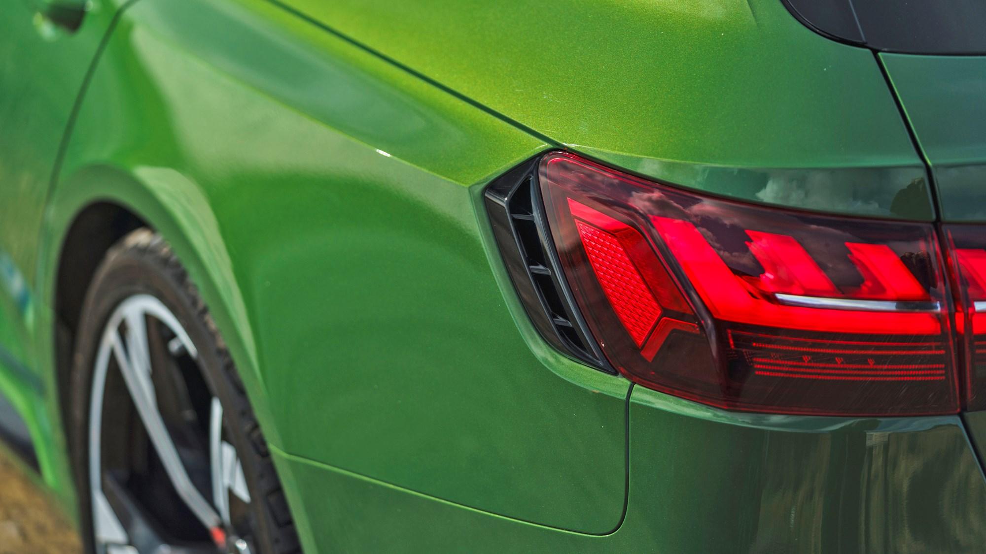Green 2021 Audi RS4 Avant rear wheelarch blisters