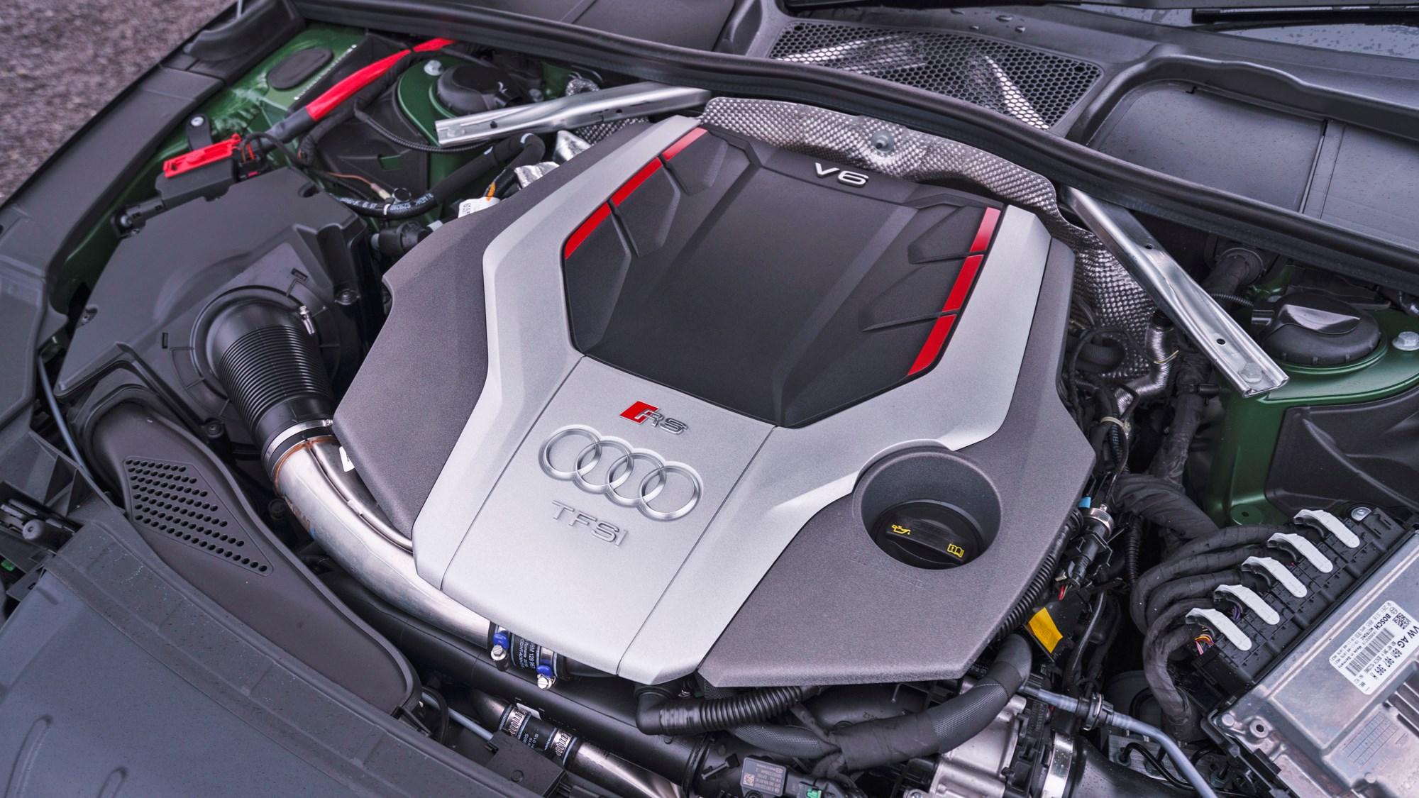 Green 2021 Audi RS4 Avant engine bay