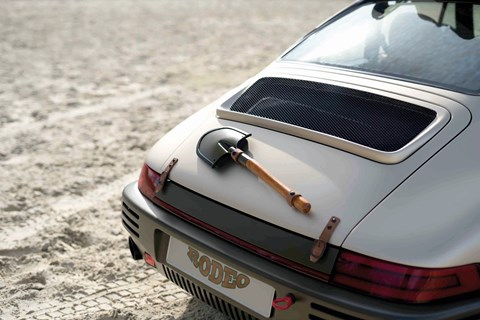 Spade strapped to Ruf Rodeo Concept's rump