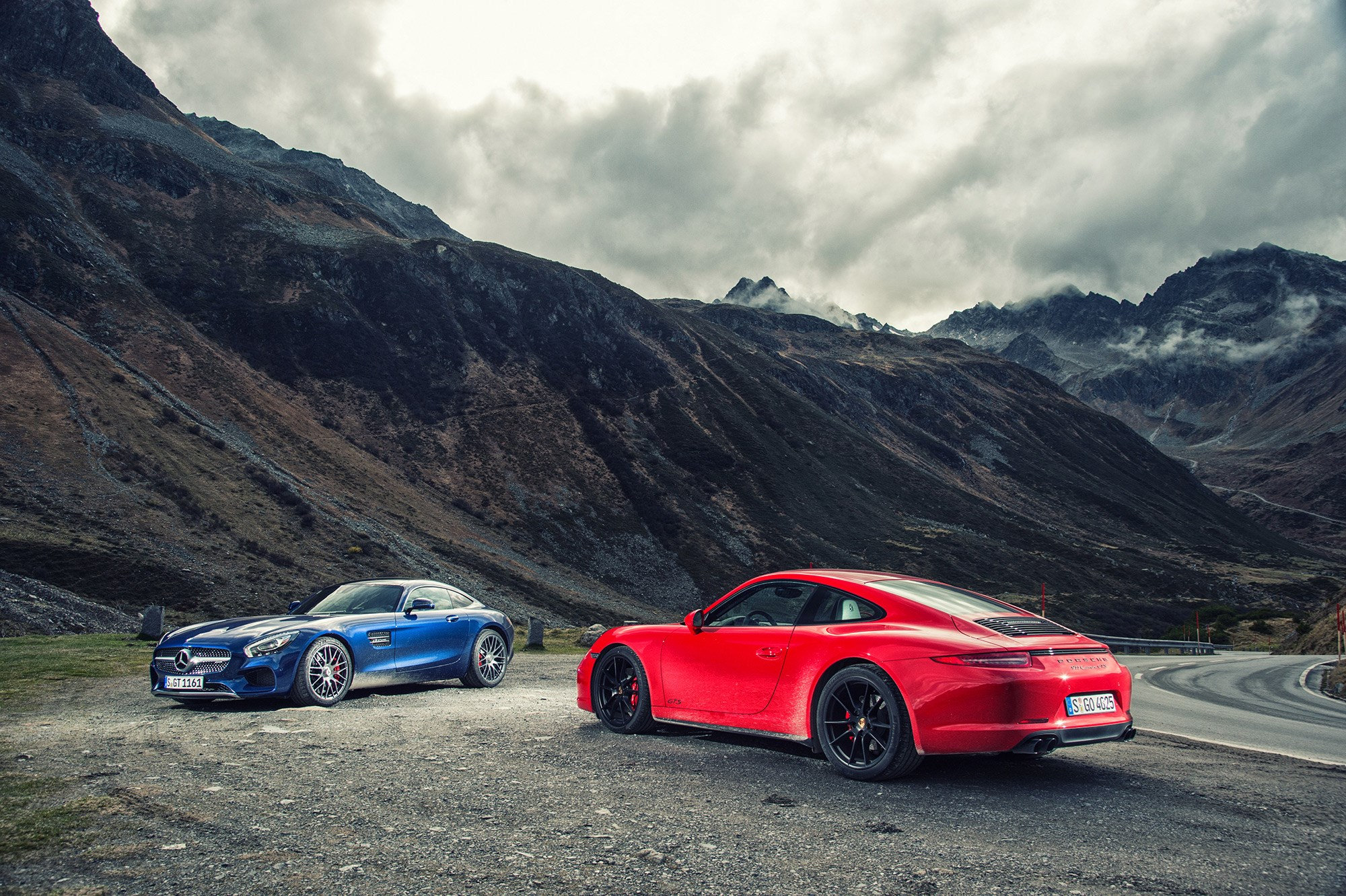 A classic CAR magazine twin test: we're first to pit Mercedes-AMG GT against Porsche 911 GTS (photography by Tom Salt)