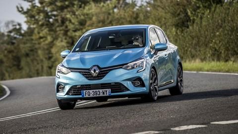 Renault Clio E-Tech hybrid, 2020, blue, driving